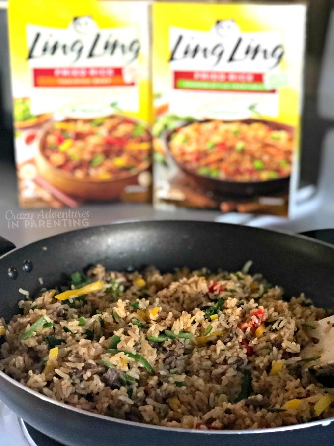 Sauteing Ling Ling Yakiniku Beef