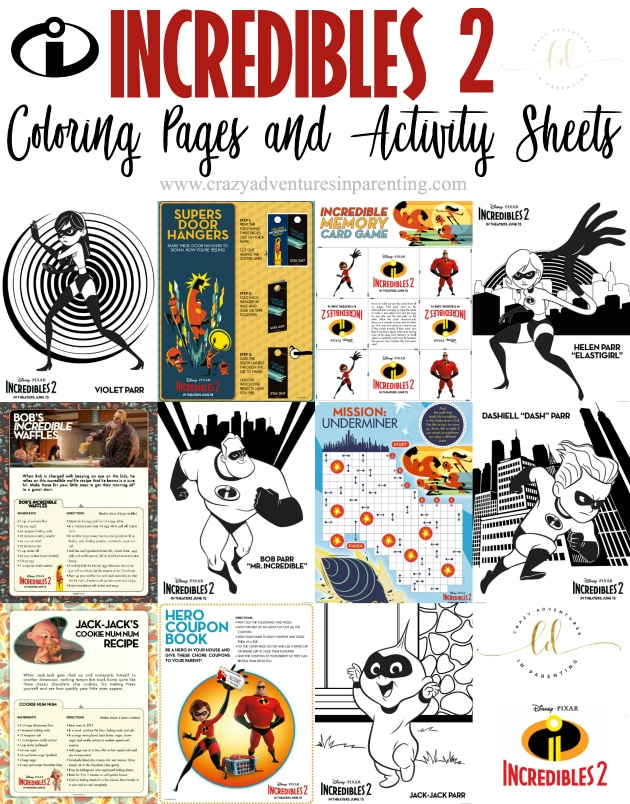 Incredibles 2 Coloring Pages and Activity Sheets | Crazy Adventures ...