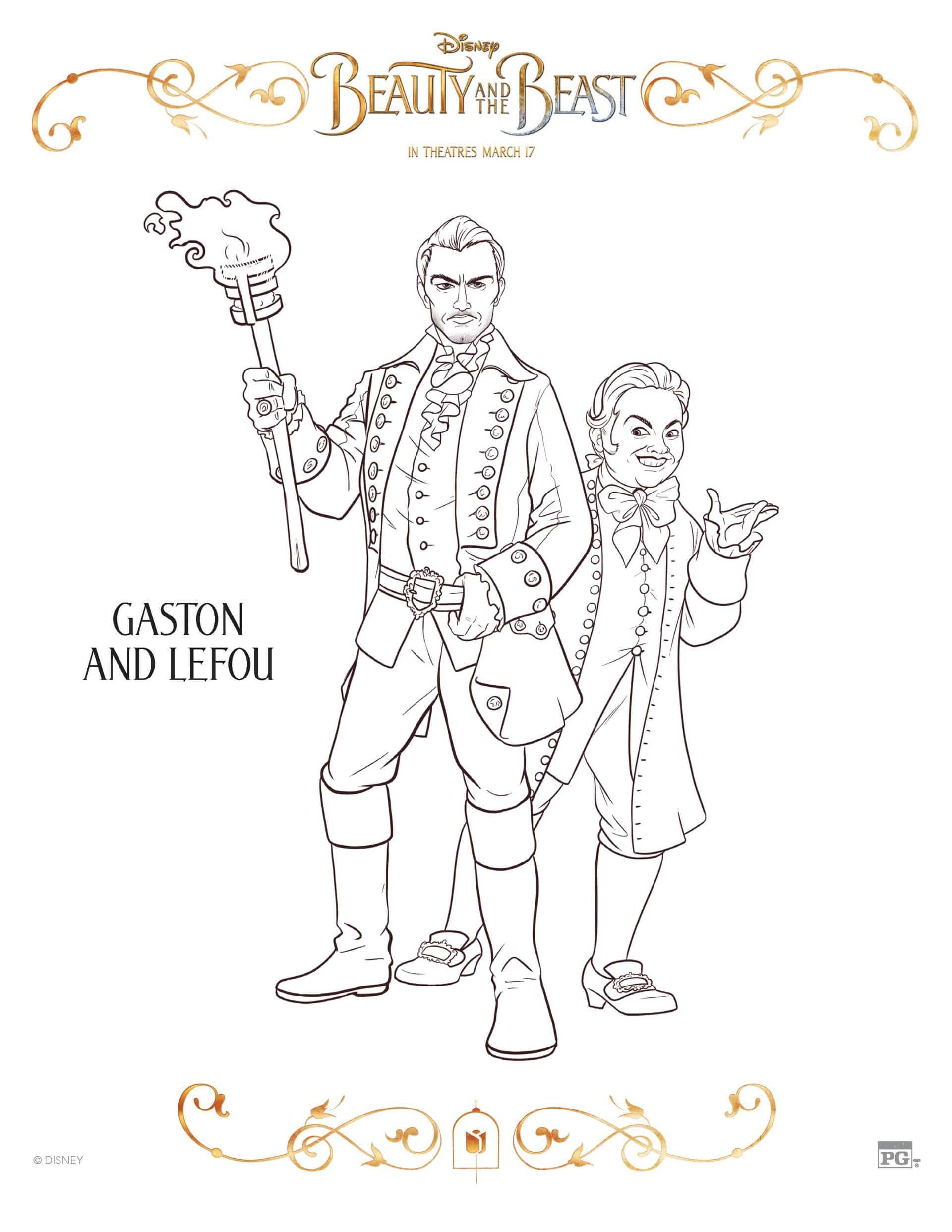 Beauty And The Beast Gaston and Lefou Coloring Page