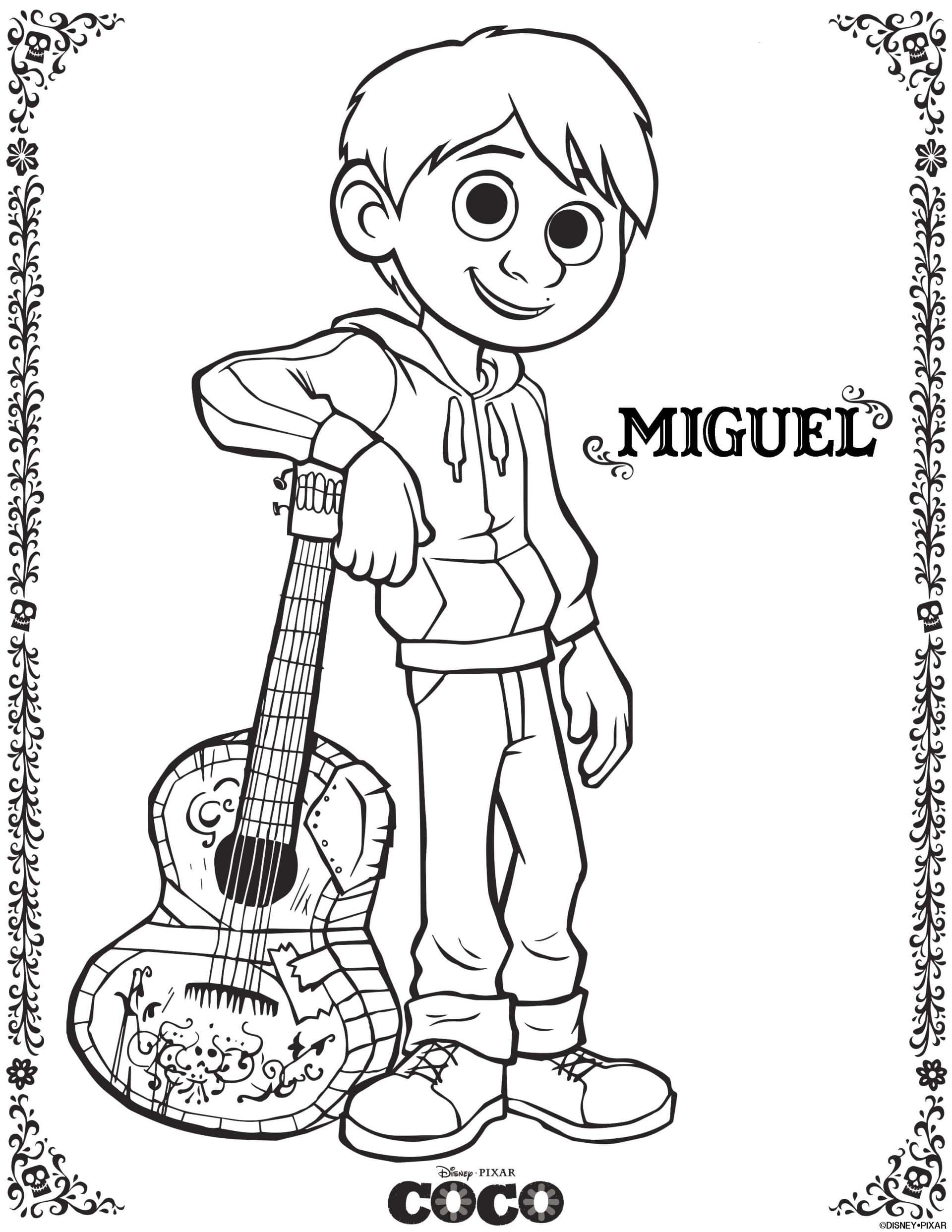 Coco Coloring Pages - Miguel