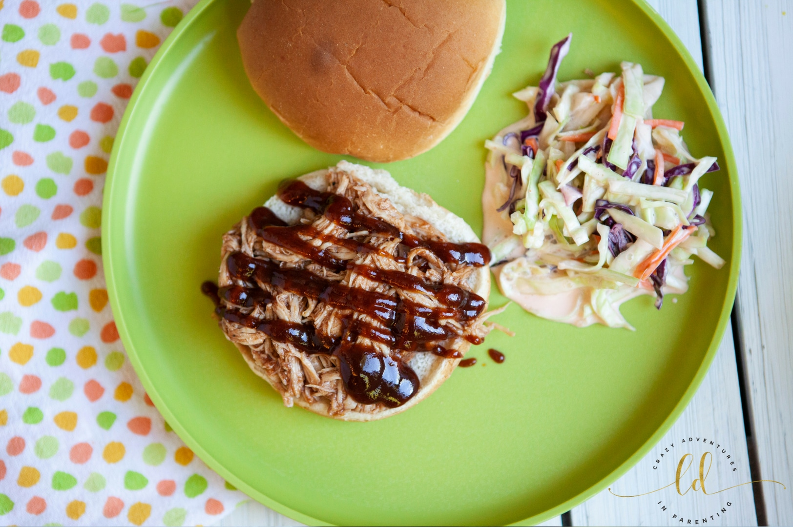 Instant Pot Pulled Barbecue Chicken with slaw