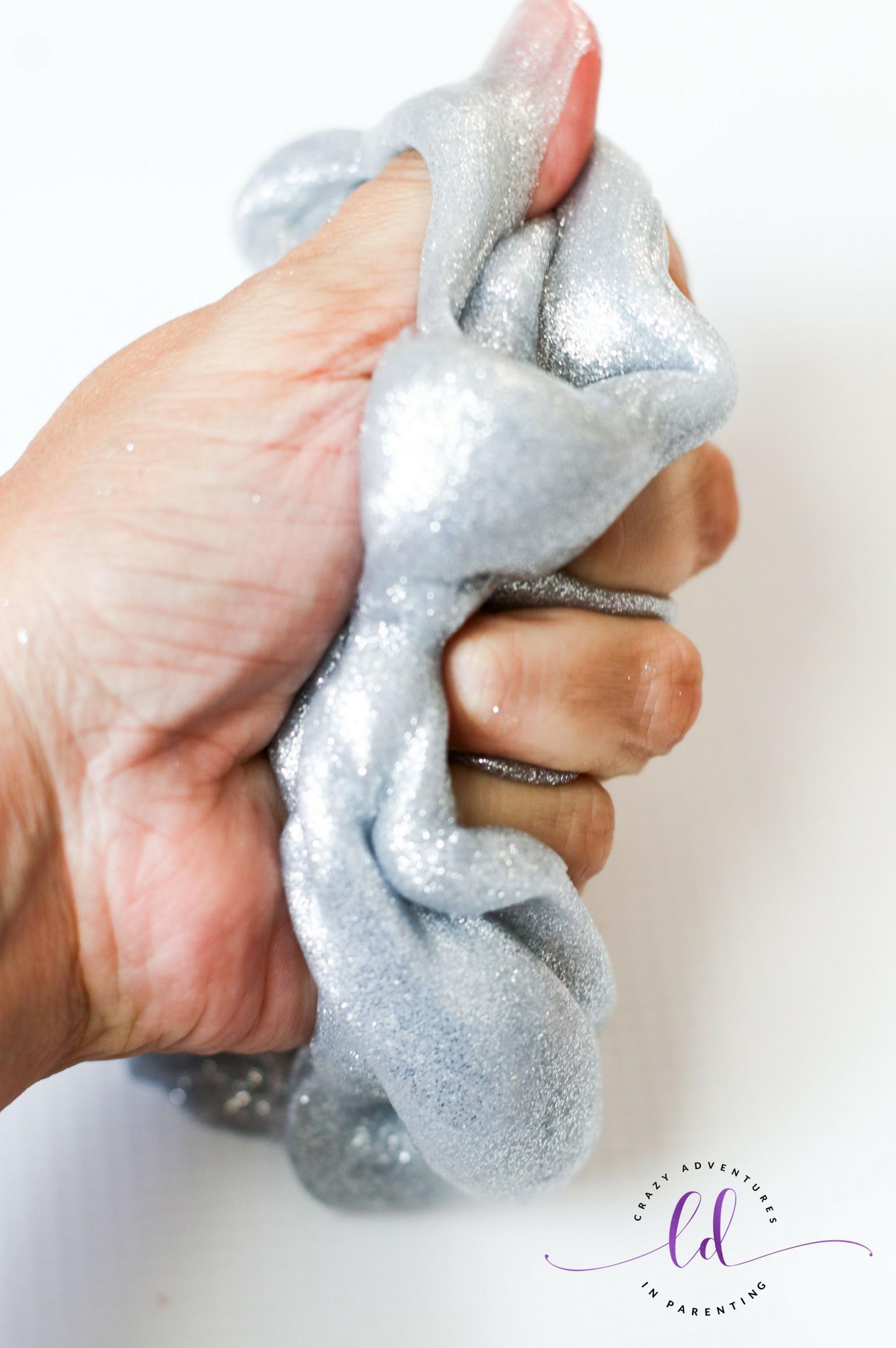 Squish silver glitter slime