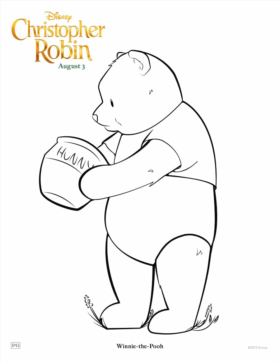 Winnie the Pooh Coloring Page - Christopher Robin Movie