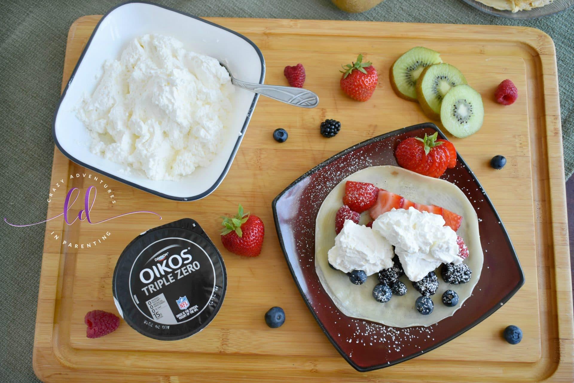 Yogurt Whipped Cream made with Oikos Triple Zero on Fruit Crepes
