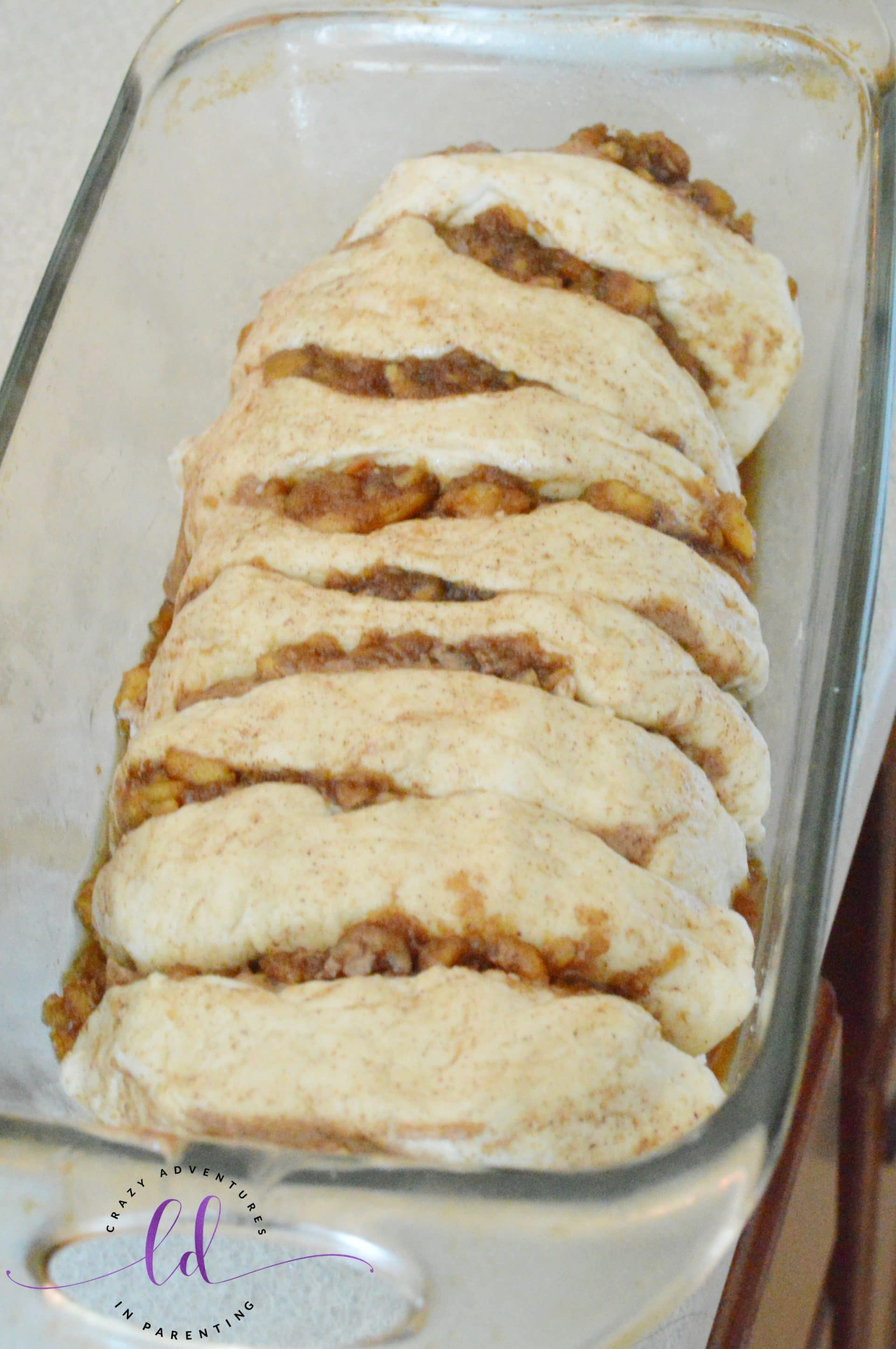 Apple Fritter Pull Apart Bread ready to bake