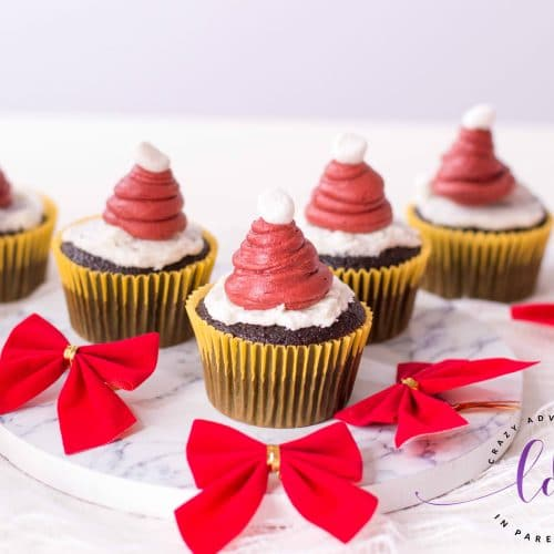 Festive Santa Hat Cupcakes for Holidays