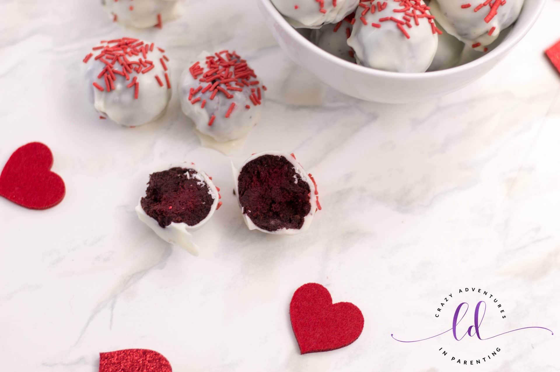 Cake-Filled Red Velvet Truffles