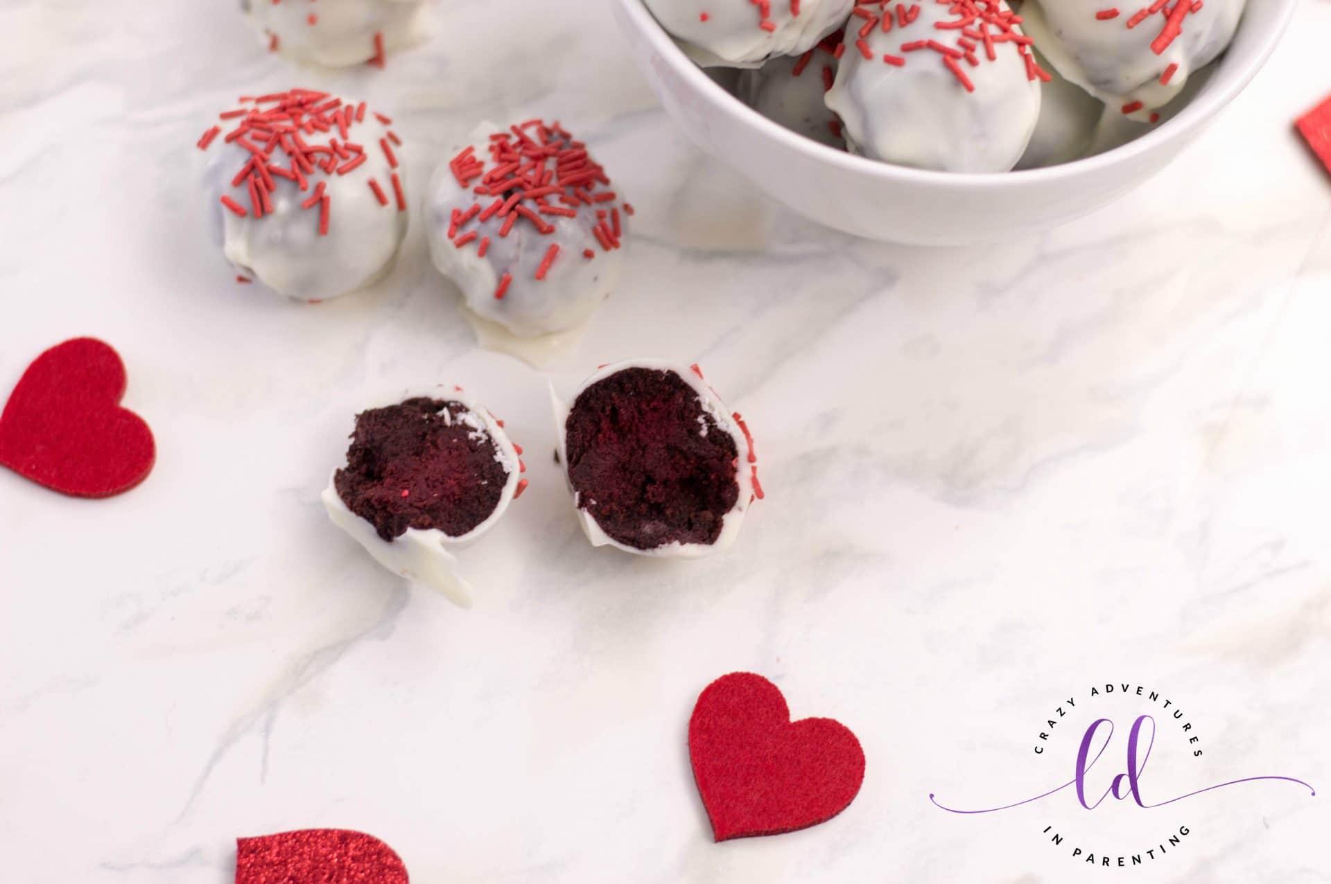 Cake-Filled Red Velvet Truffles