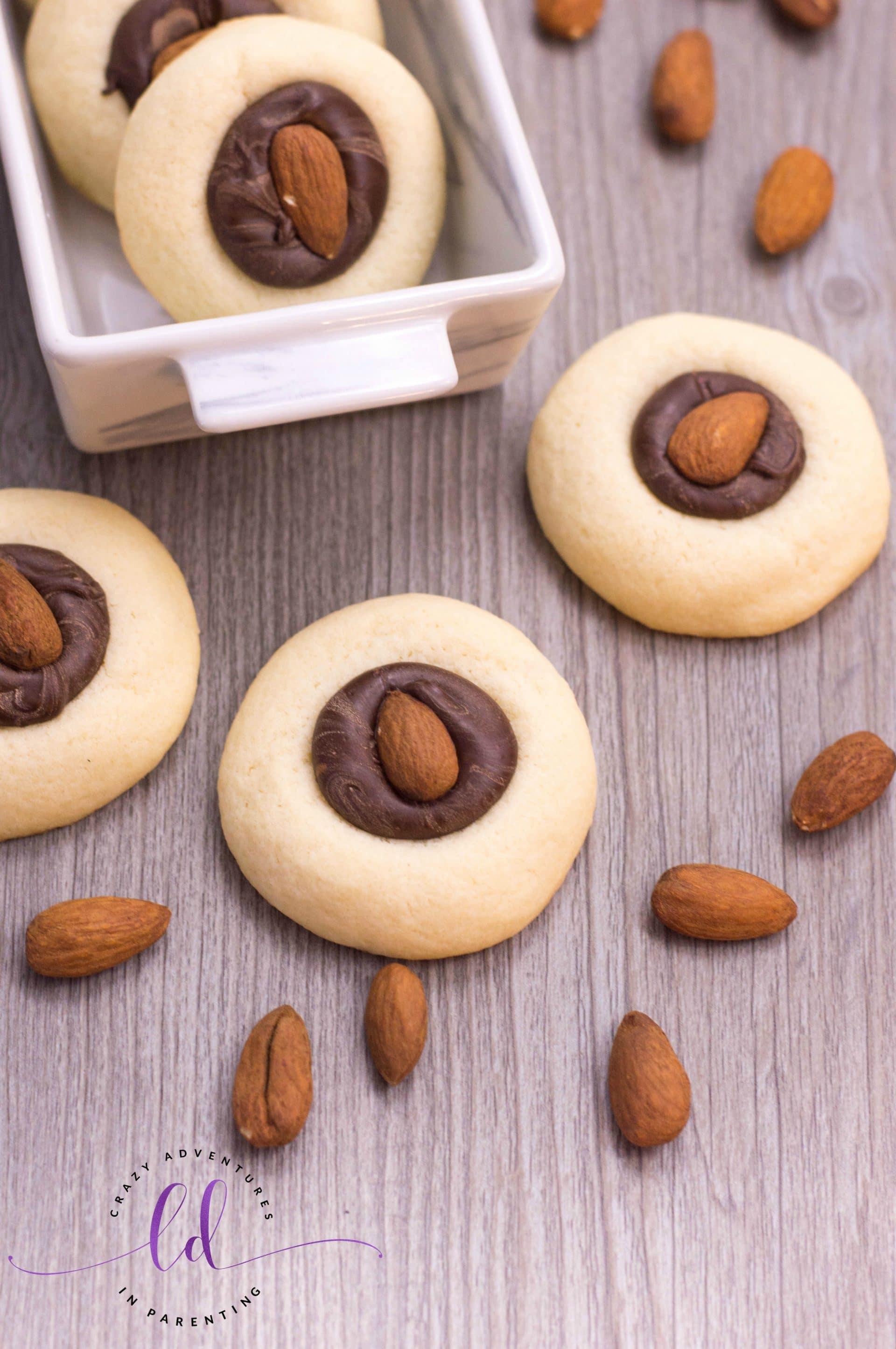 Easy Chocolate Almond Thumbprint Cookies