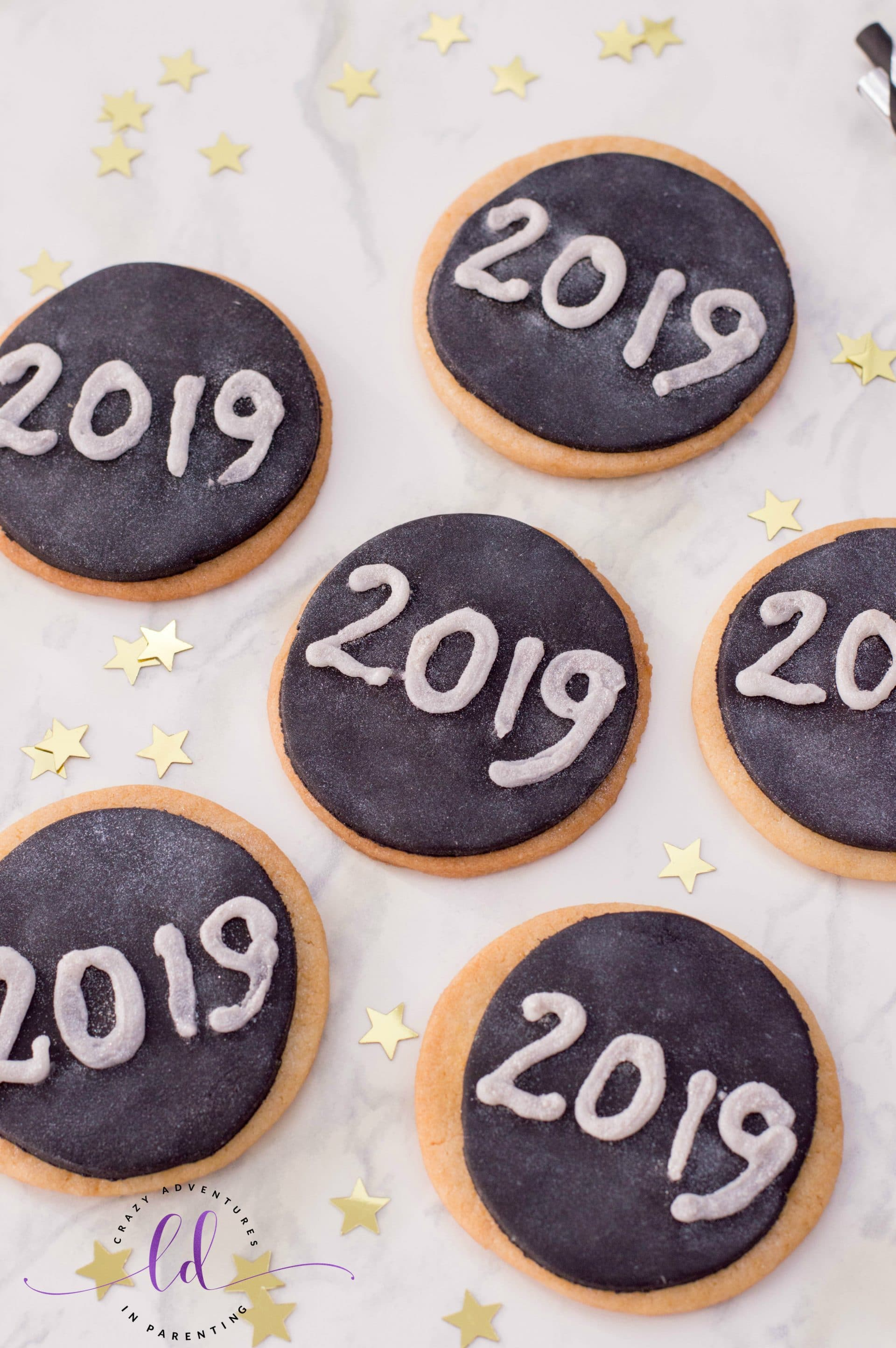 Easy Glitter New Years Cookies