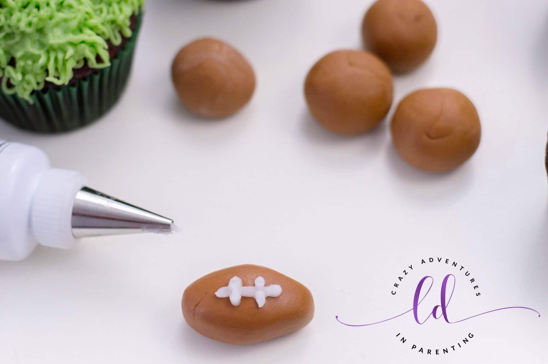 Fondant Footballs for Football Cupcakes