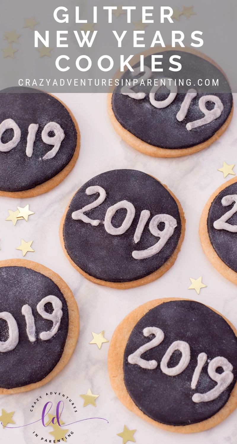 Glitter New Years Cookies
