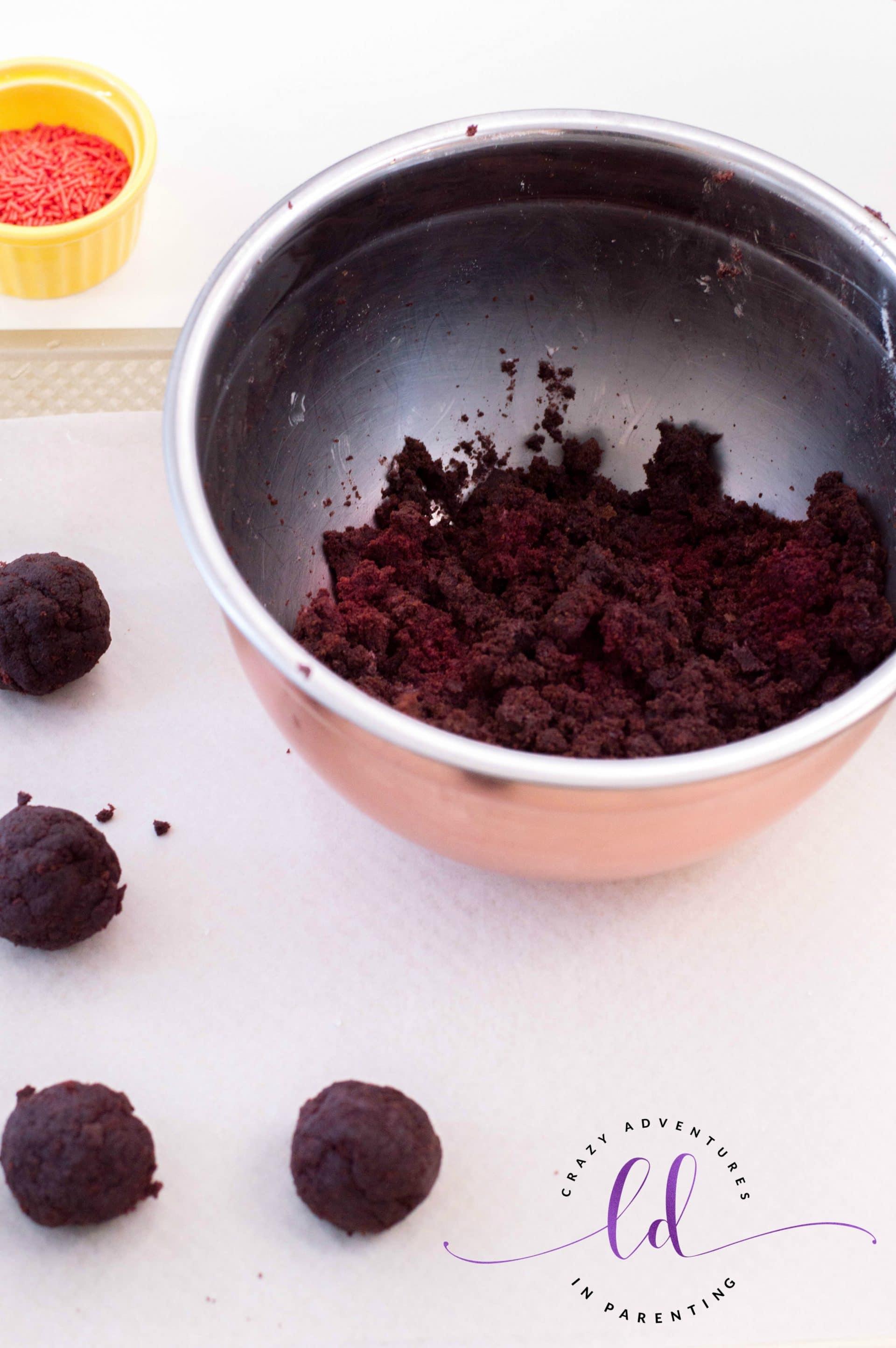 Making Cake Balls for Red Velvet Truffles