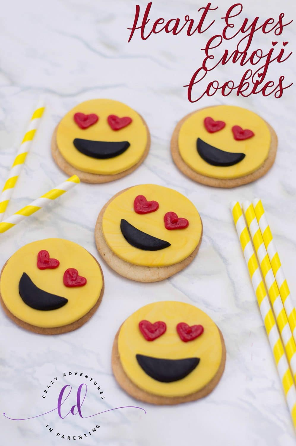 Cute Heart Eyes Emoji Cookies