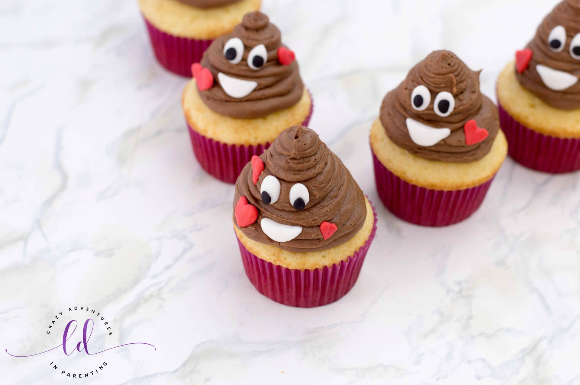Easy Poop Emoji Cupcakes