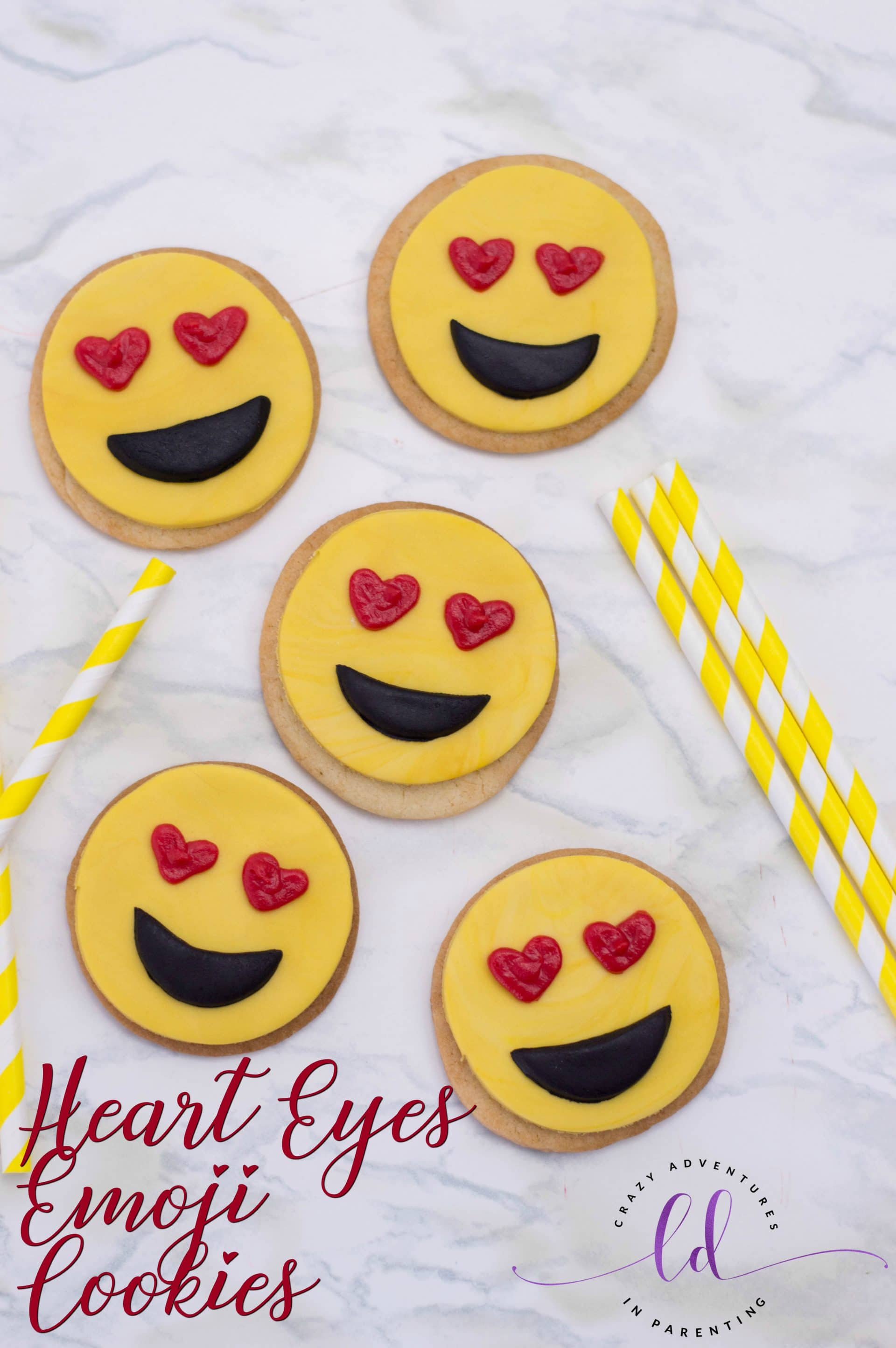 Heart Eyes Emoji Cookies