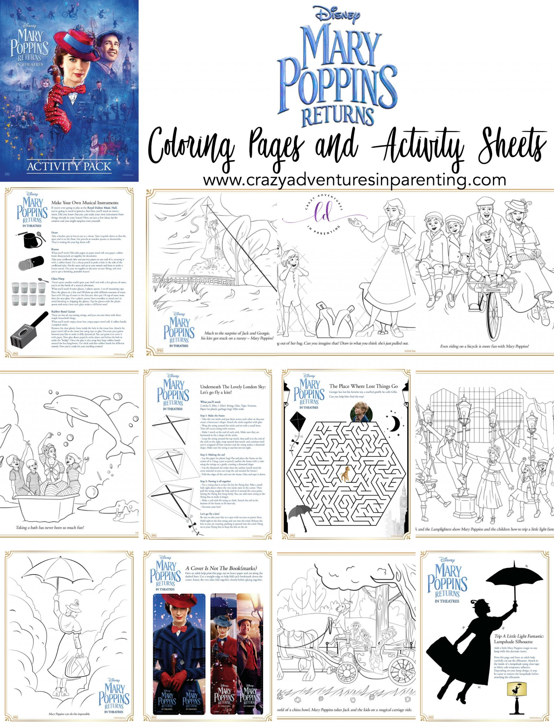 Mary Poppins Returns Activity Sheets and Coloring Pages