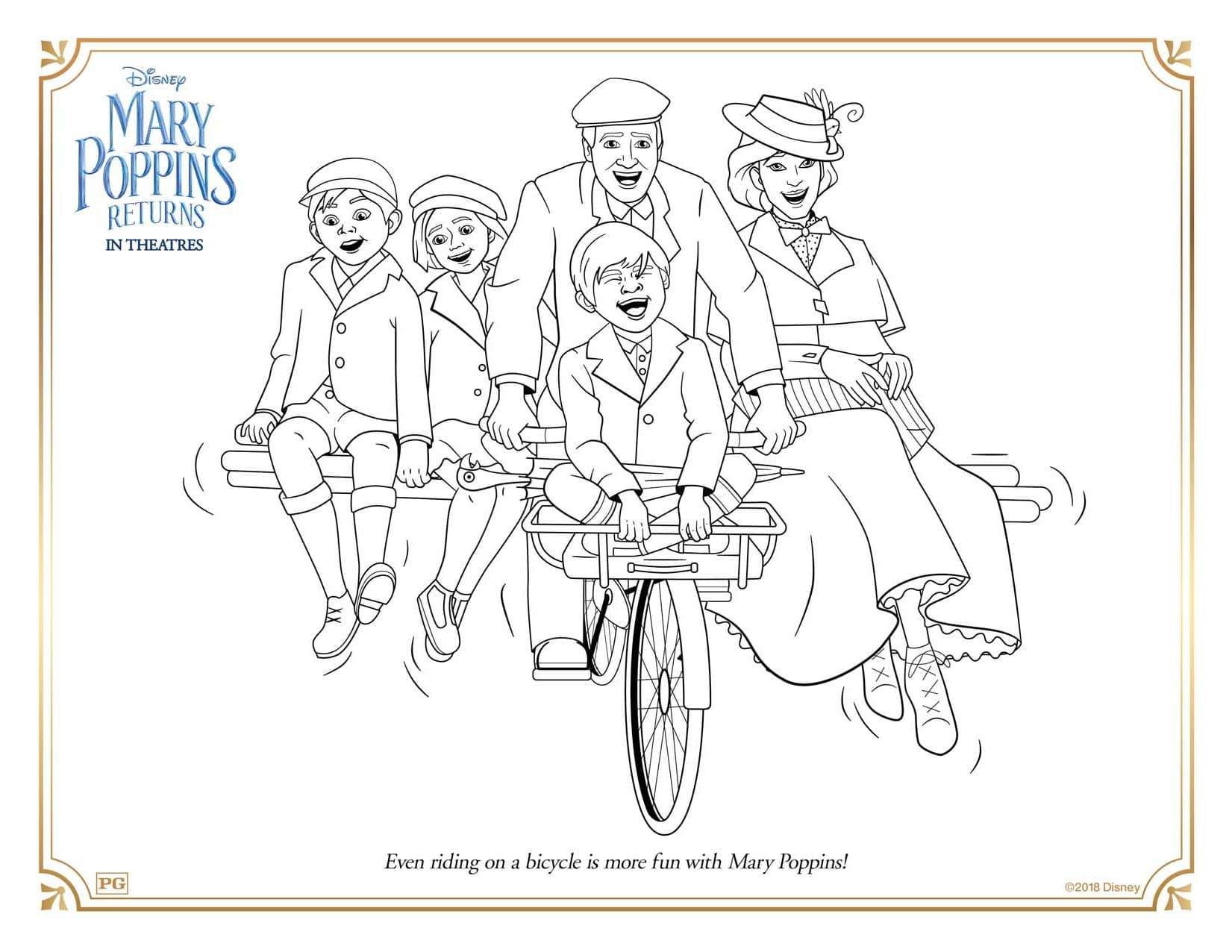 Mary Poppins Returns Bicycle Fun Coloring Pages and Activity Sheets