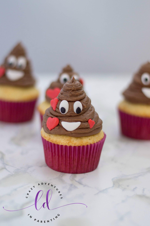 Poop Emoji Cupcakes for Valentine's
