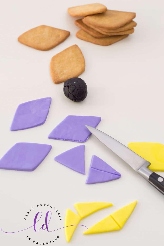 Cut Fondant Pieces for Kite Sugar Cookies