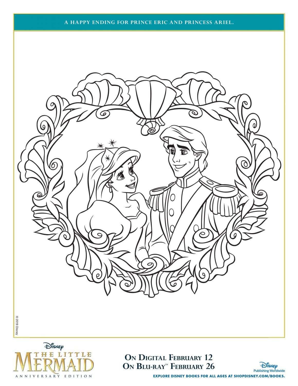 Eric and Ariel Wedding The Little Mermaid Coloring Page