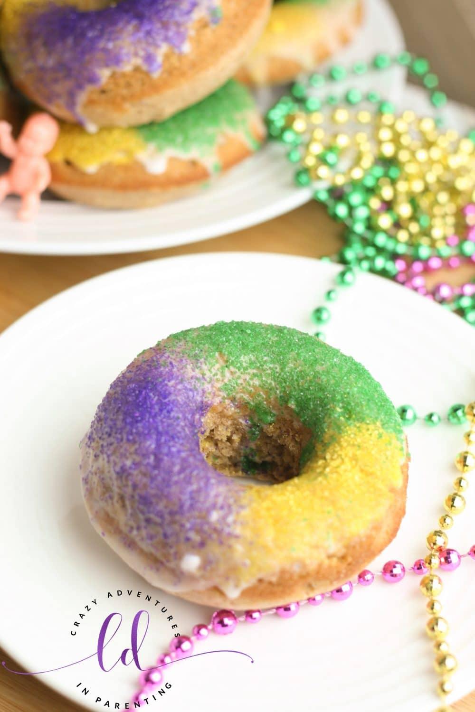 Homemade King Cake Doughnuts