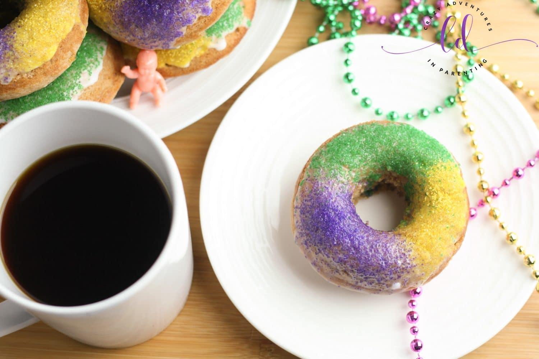 King Cake Doughnuts for Mardi Gras