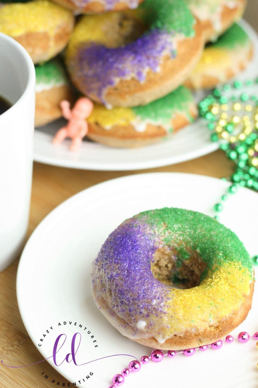 King Cake Doughnuts with Coffee