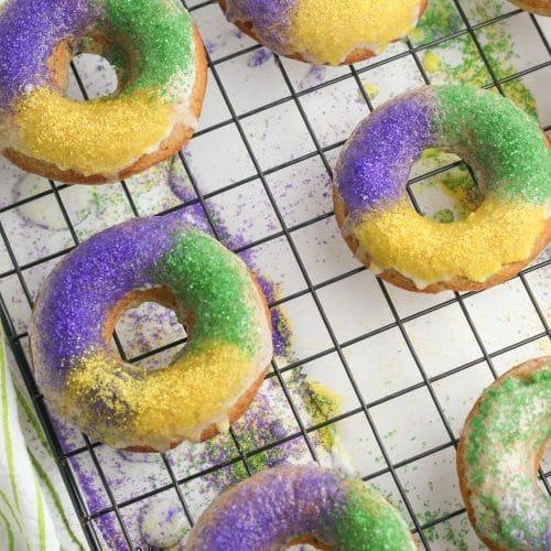 Sprinkles on King Cake Doughnuts