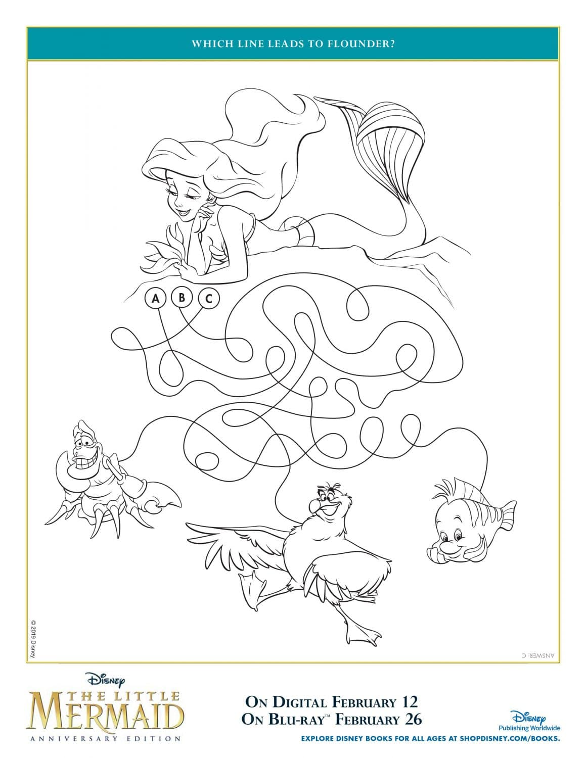 The Little Mermaid Find Flounder Coloring Page