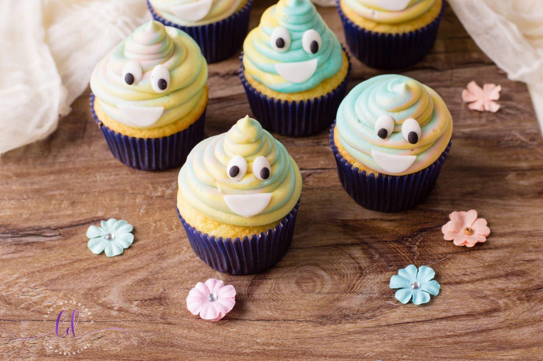 Adorable Tie-Dye Poop Emoji Cupcakes