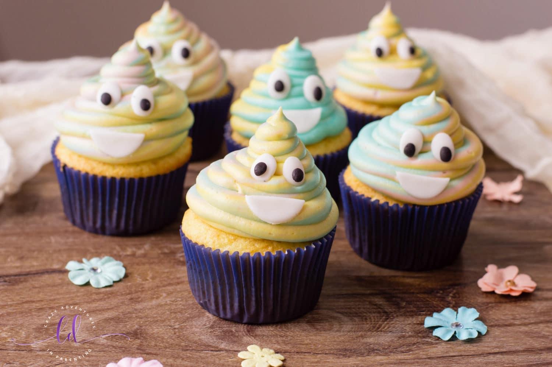 Cute Tie-Dye Poop Emoji Cupcakes