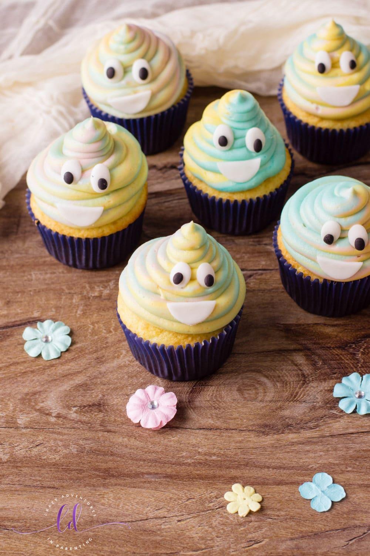 Easy Tie-Dye Poop Emoji Cupcakes