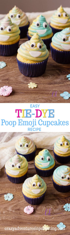 Easy Tie-Dye Poop Emoji Cupcakes Recipe