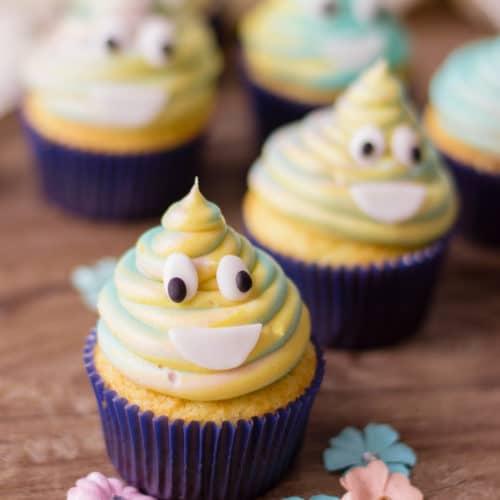 Simple Tie-Dye Poop Emoji Cupcakes