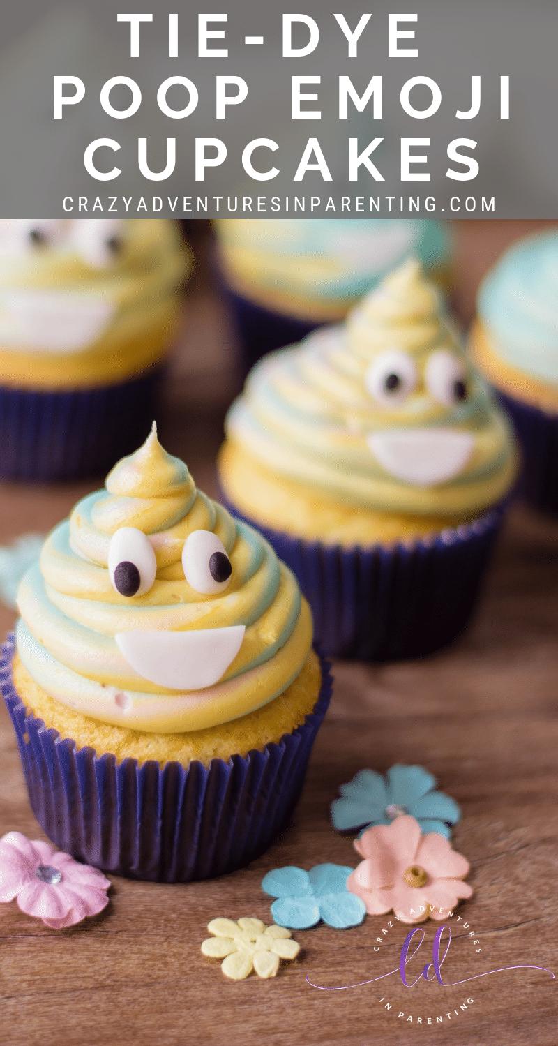 Tie-Dye Poop Emoji Cupcakes