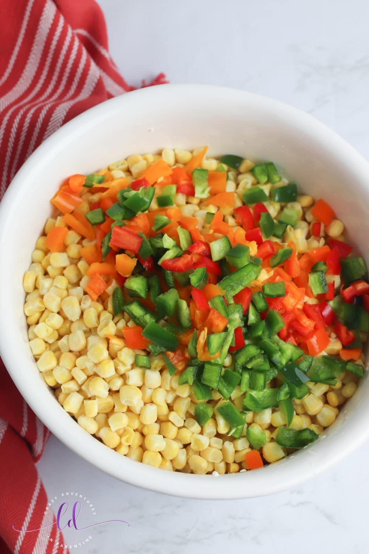 Add Cut Up Veggies for Jalapeño Corn Casserole