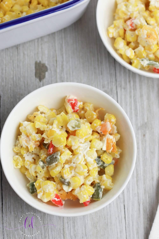 Jalapeno Corn Casserole in a Bowl