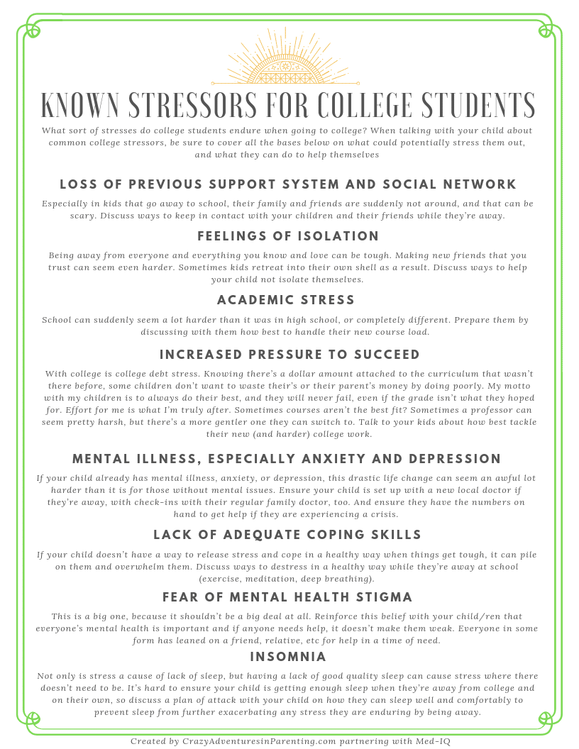 Known Stressors for College Students - Depression in College