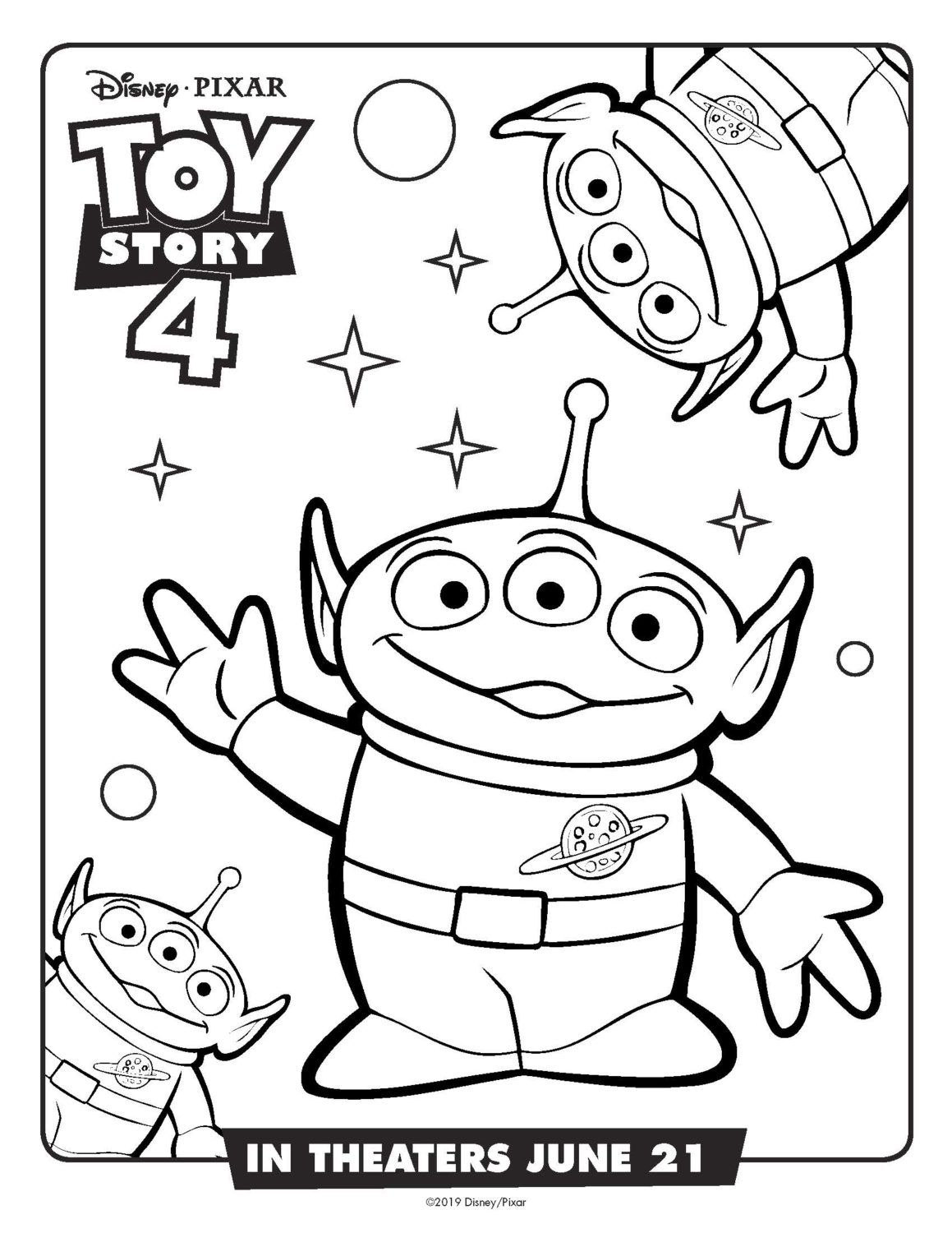 Toy Story 4 Aliens Coloring Page and Activity Sheet