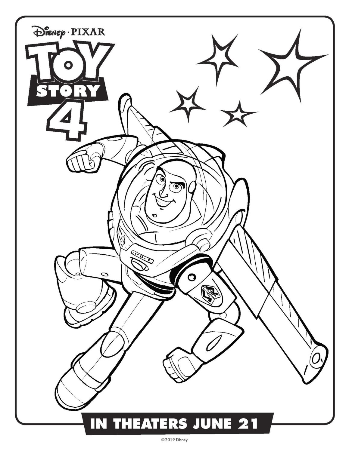 Toy Story 4 Buzz Lightyear Coloring Page and Activity Sheet