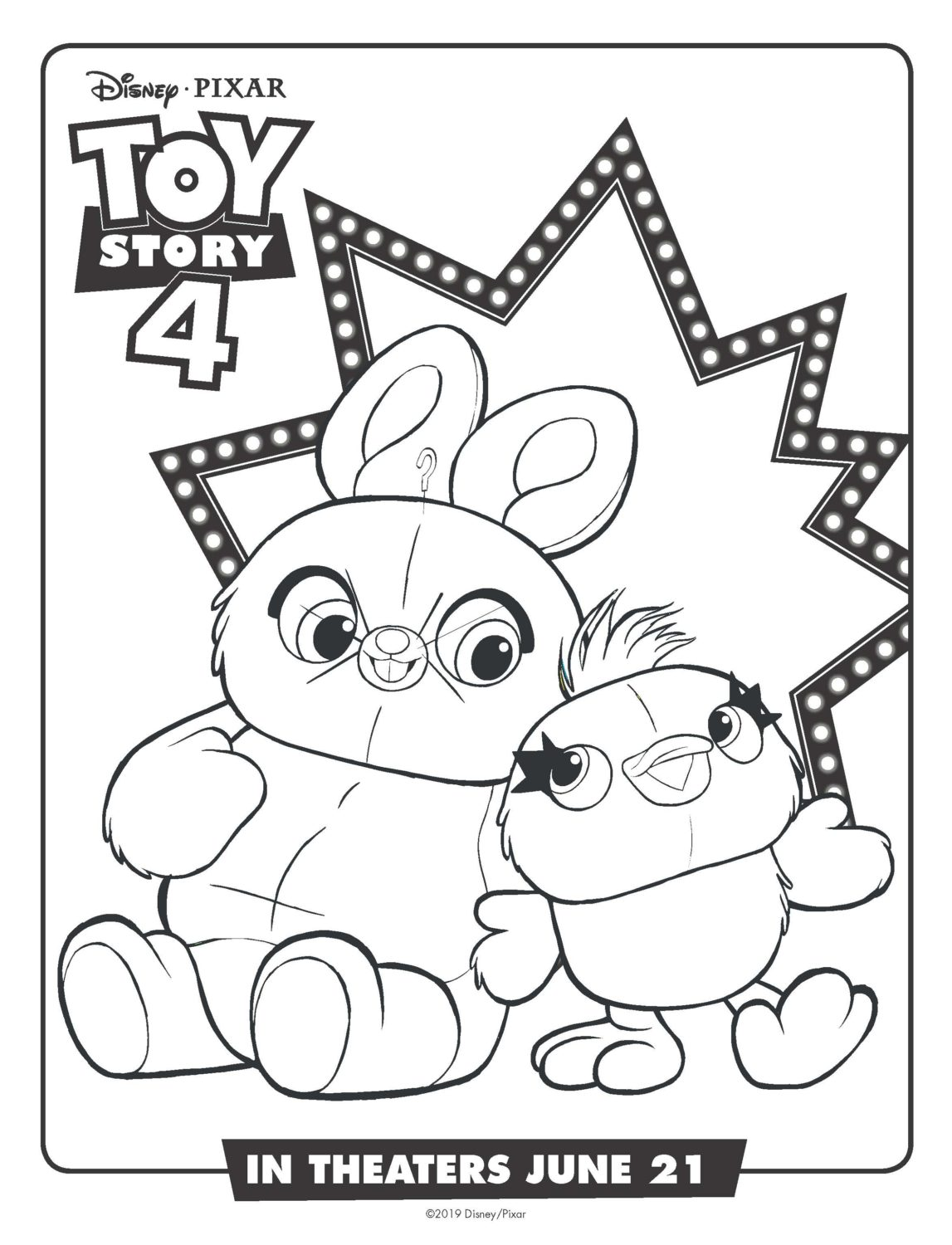 Toy Story 4 Ducky and Bunny Coloring Page and Activity Sheet
