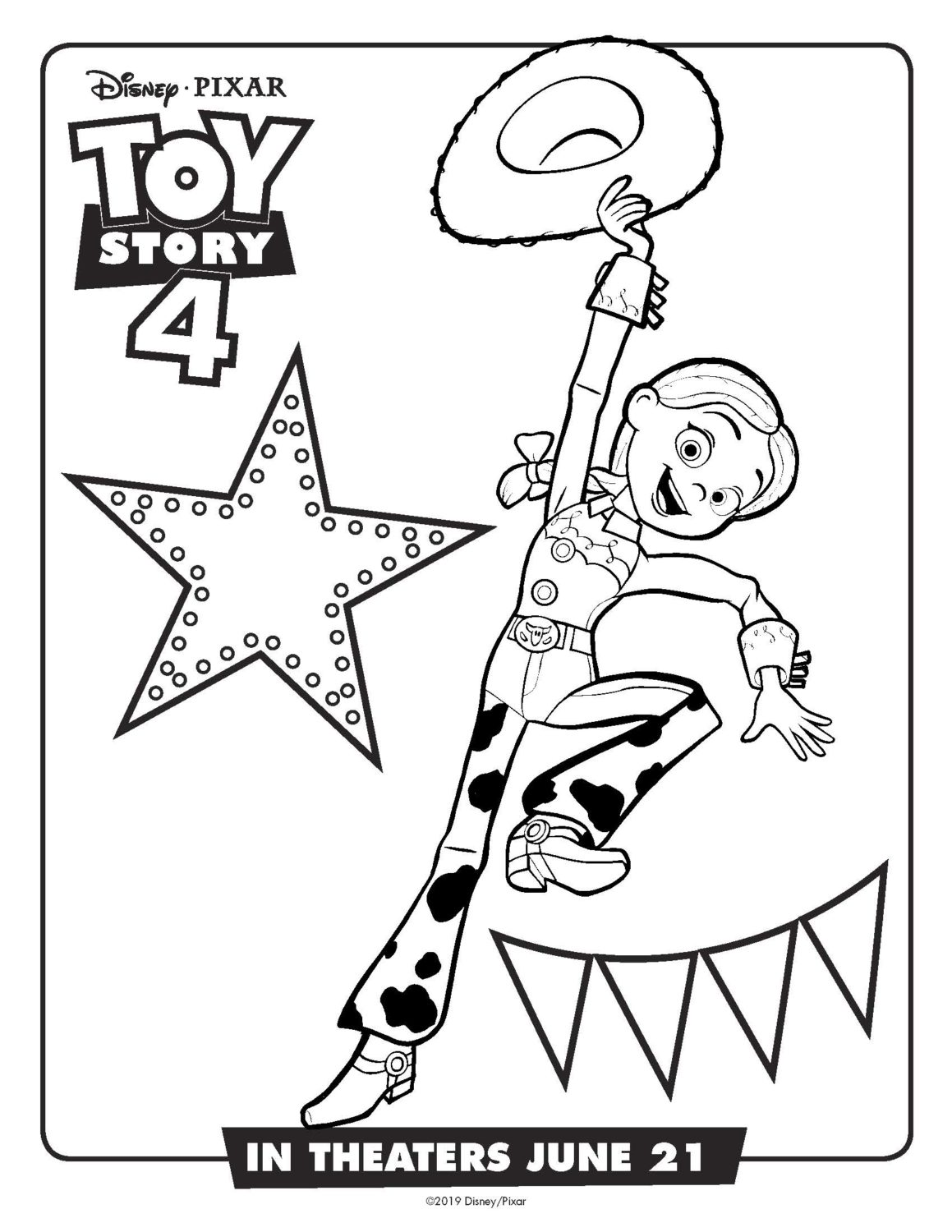 Toy Story 4 Jessie Coloring Page and Activity Sheet