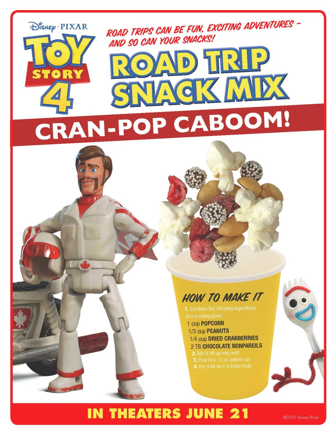 Toy Story 4 Recipe Road Trip Snack Mix Cran-Pop Caboom Activity Sheet