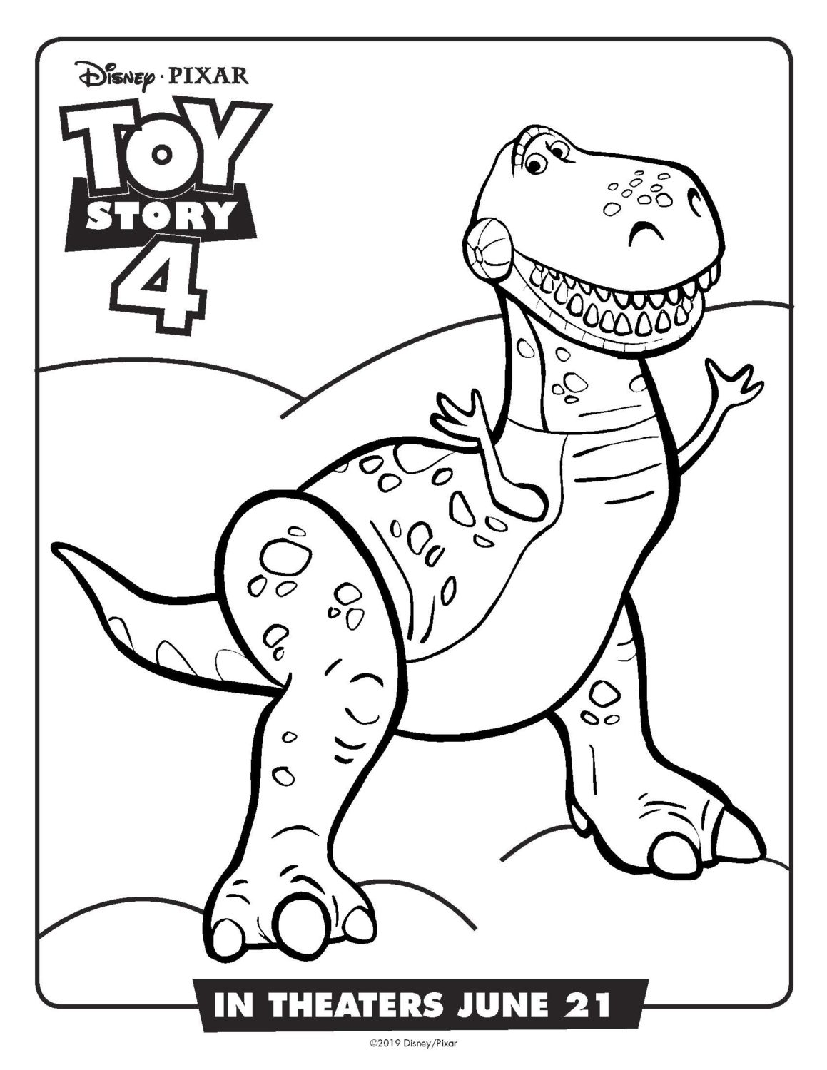 Toy Story 4 Rex Coloring Page and Activity Sheet