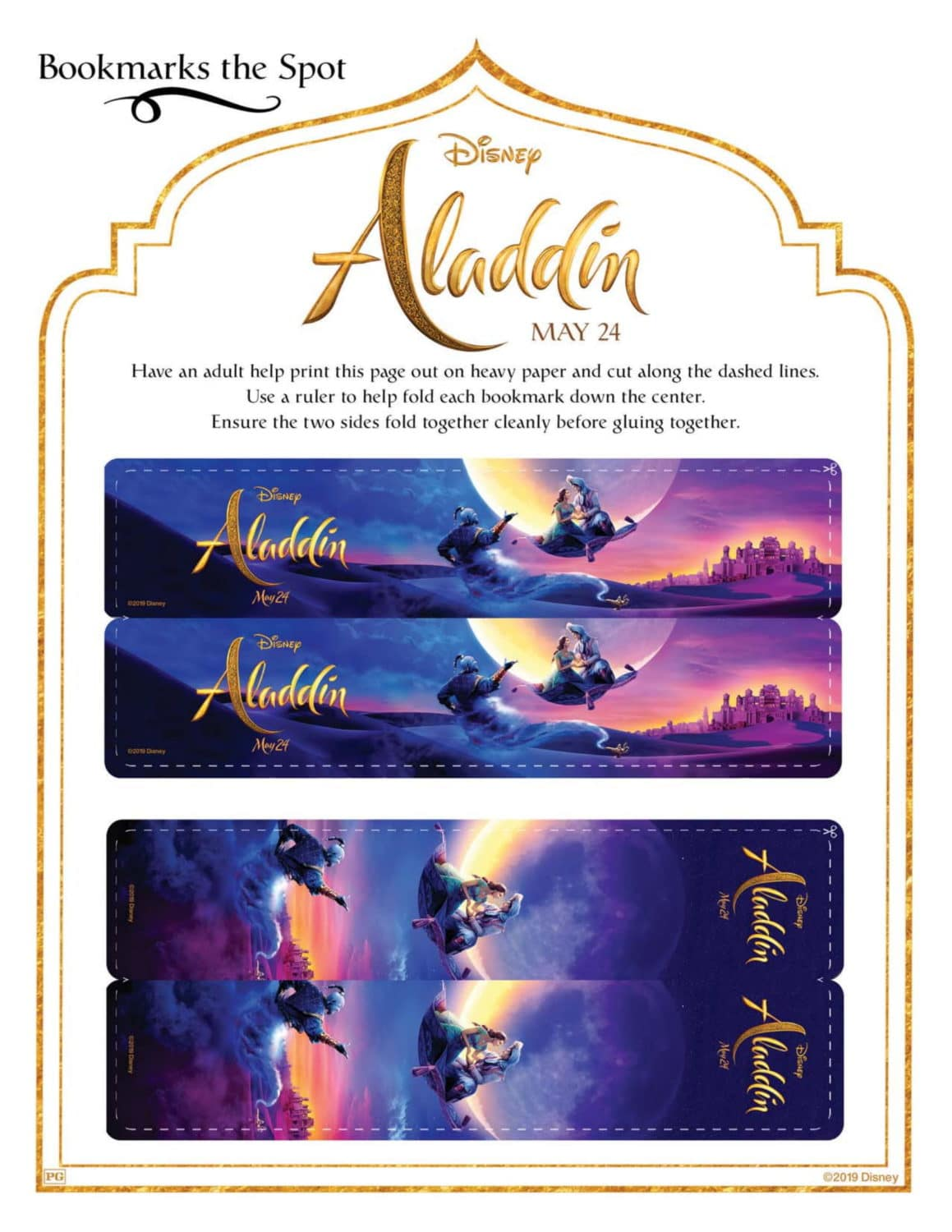 Aladdin Bookmarks Activity Sheet and Coloring Pages