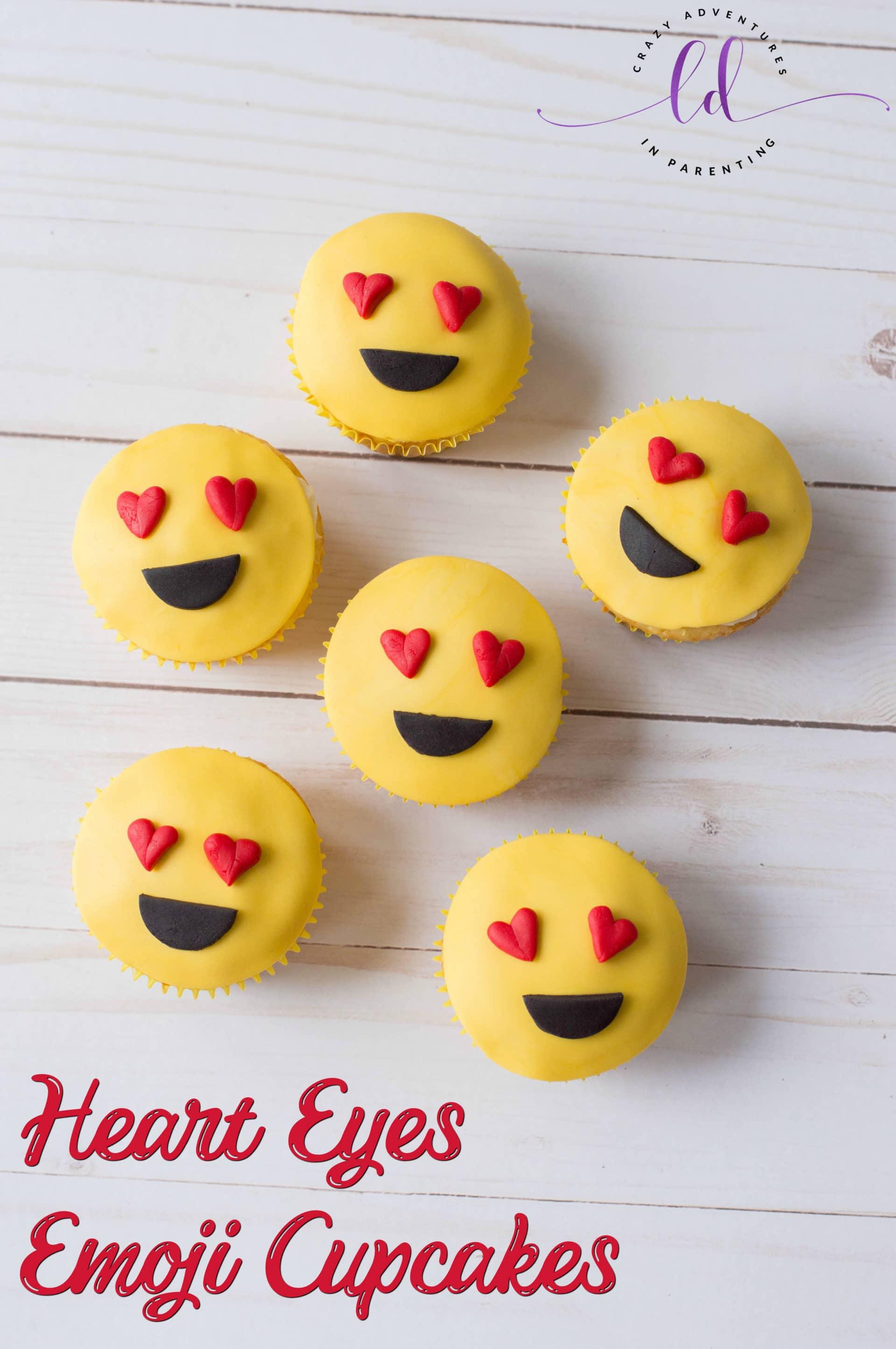 Heart Eyes Emoji Cupcakes