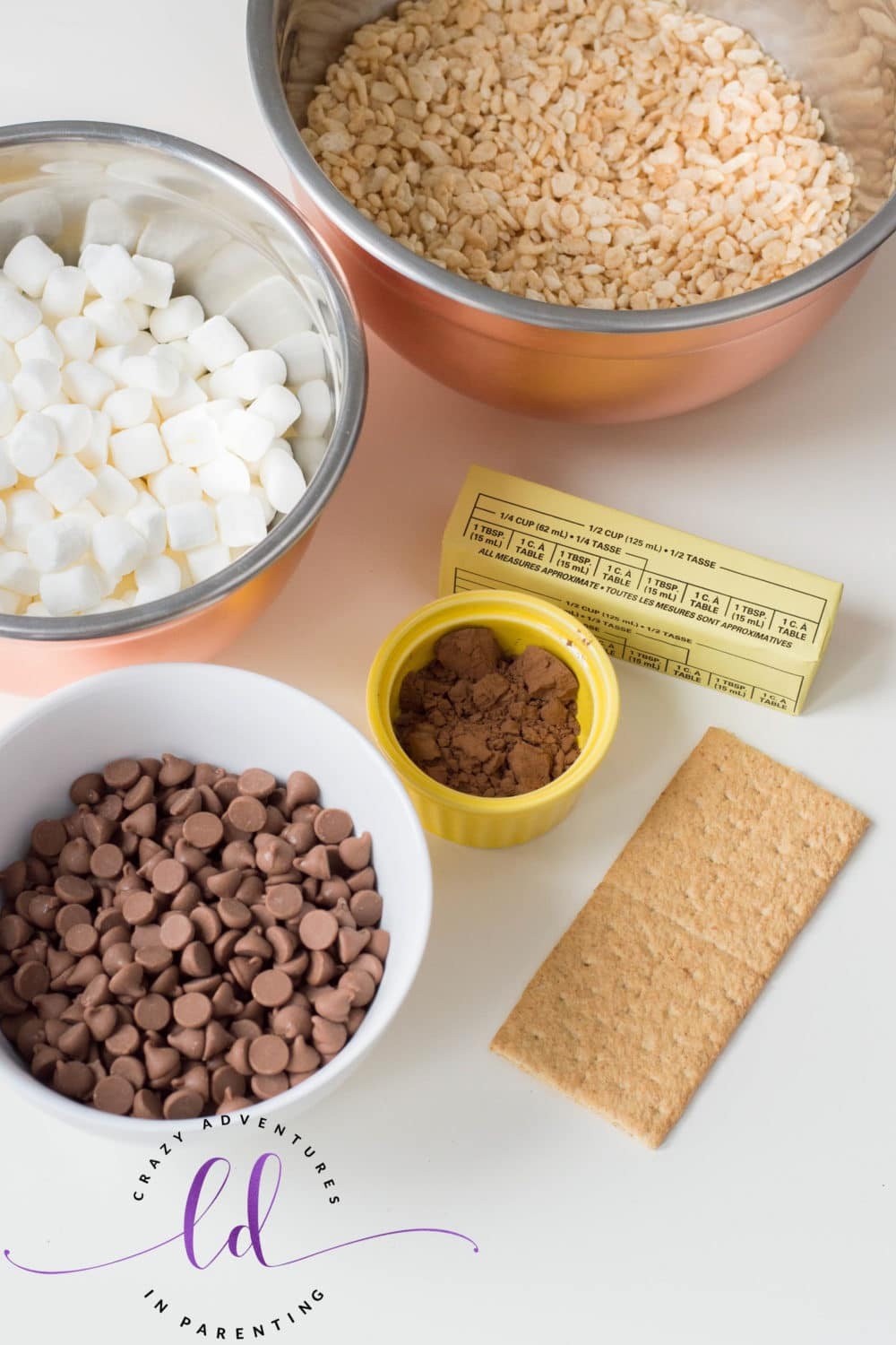 Ingredients to Make S'mores Rice Krispies Treats
