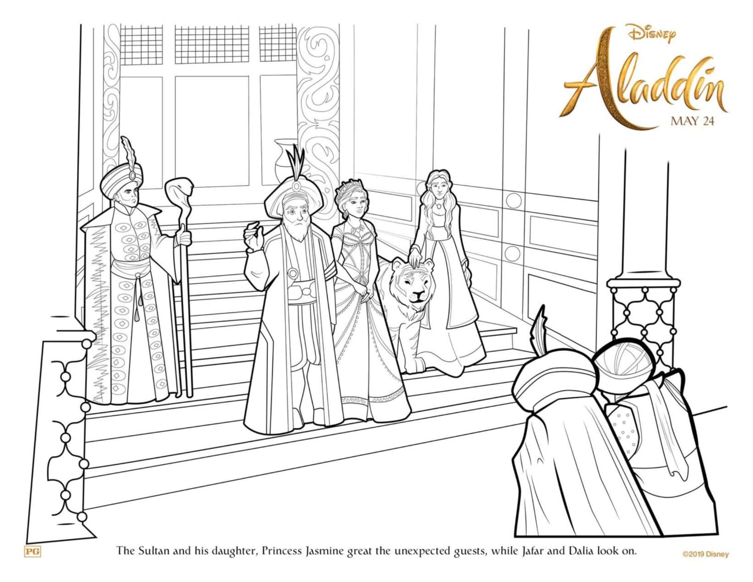Jasmine and the Sultan Coloring Page and Activity Sheet