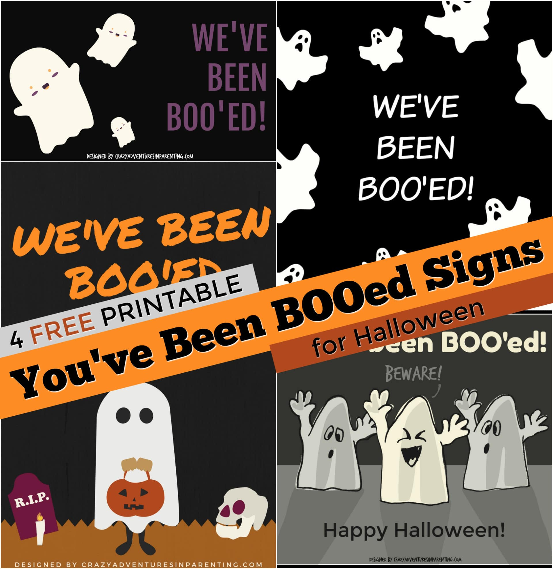 4 FREE Printable You've Been Boo'ed Signs for Halloween